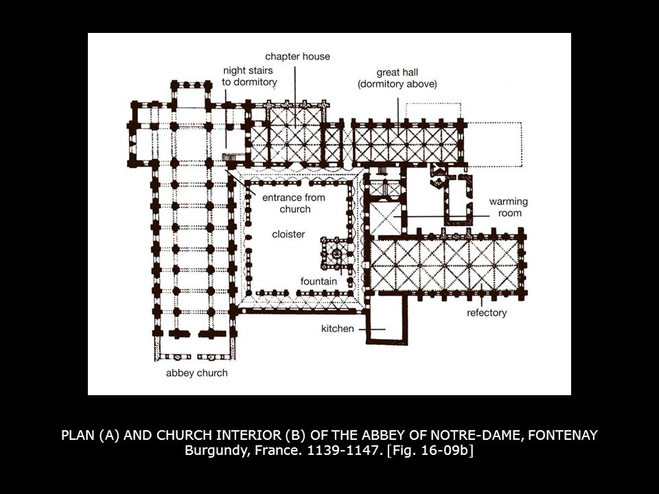 PLAN (A) AND CHURCH INTERIOR (B) OF THE ABBEY OF NOTRE-DAME, FONTENAY Burgundy, France. 1139-1147. [Fig. 16-09b]